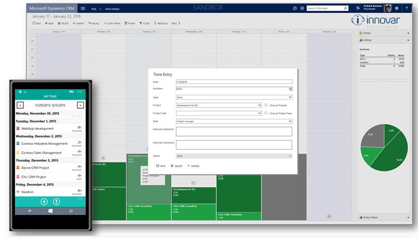 Dynamics CRM entrada de iempos y gastos de proyecto